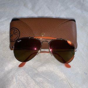 Orange Aviator Ray Ban Sunglasses GUC